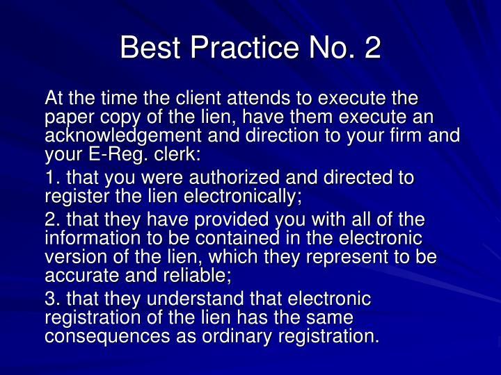 Best Practice No. 2