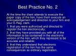 best practice no 2