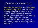 construction lien act s 1