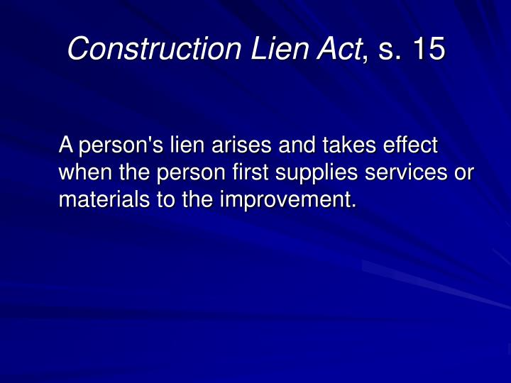 Construction Lien Act