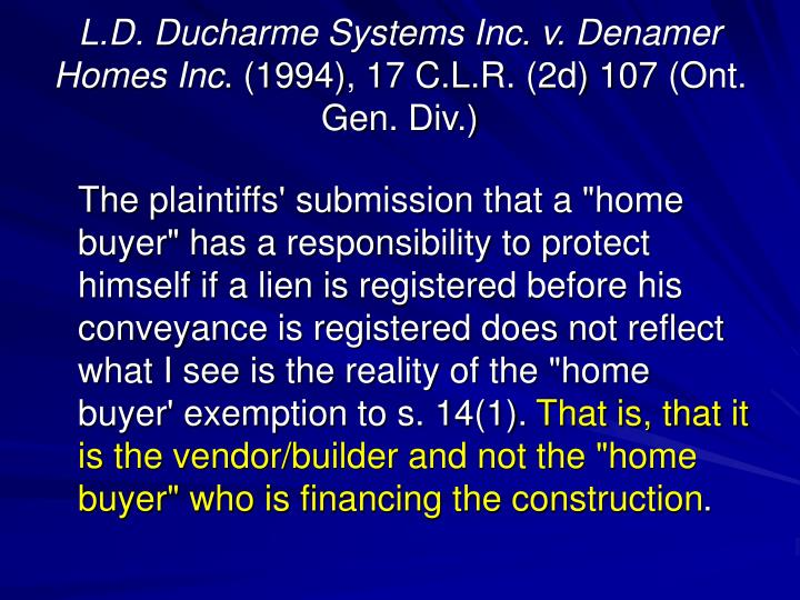 L.D. Ducharme Systems Inc. v. Denamer Homes Inc