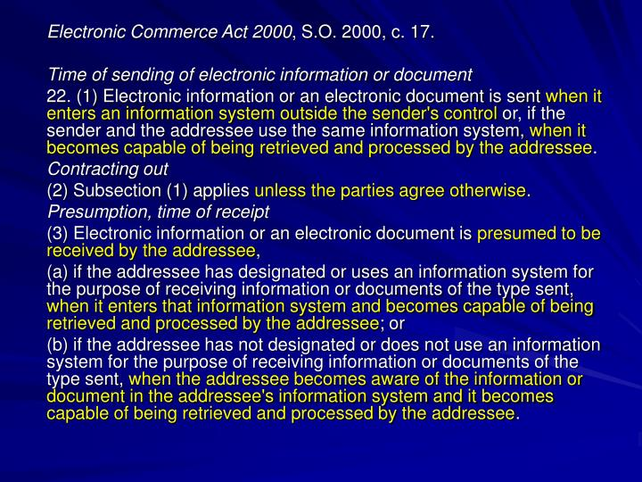 Electronic Commerce Act 2000