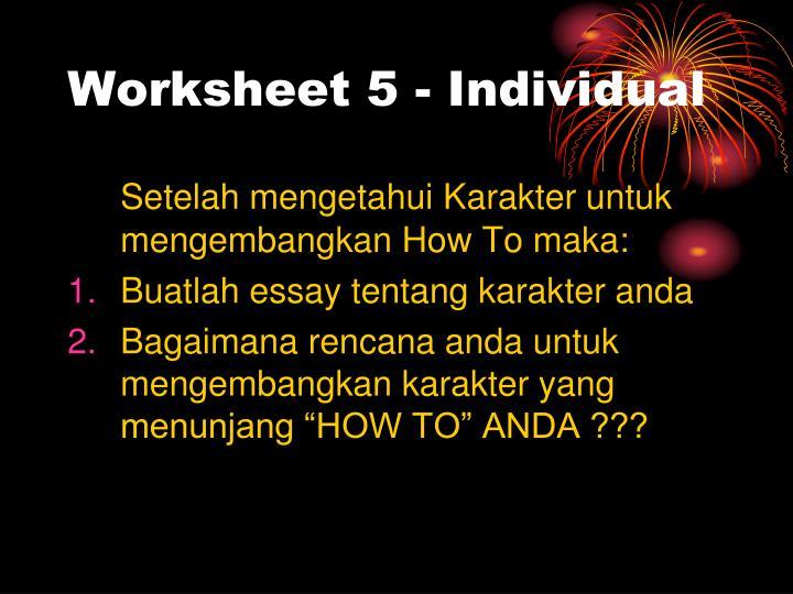 Worksheet 5 - Individual