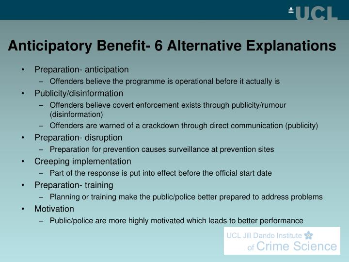 Anticipatory Benefit- 6 Alternative Explanations