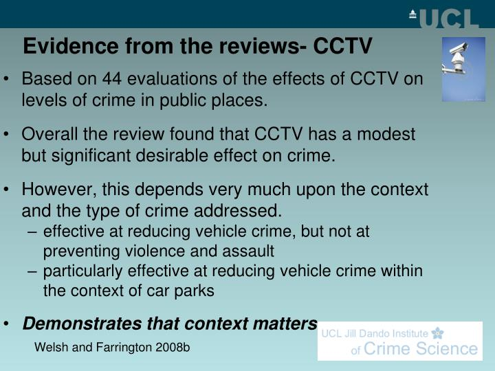 Evidence from the reviews- CCTV