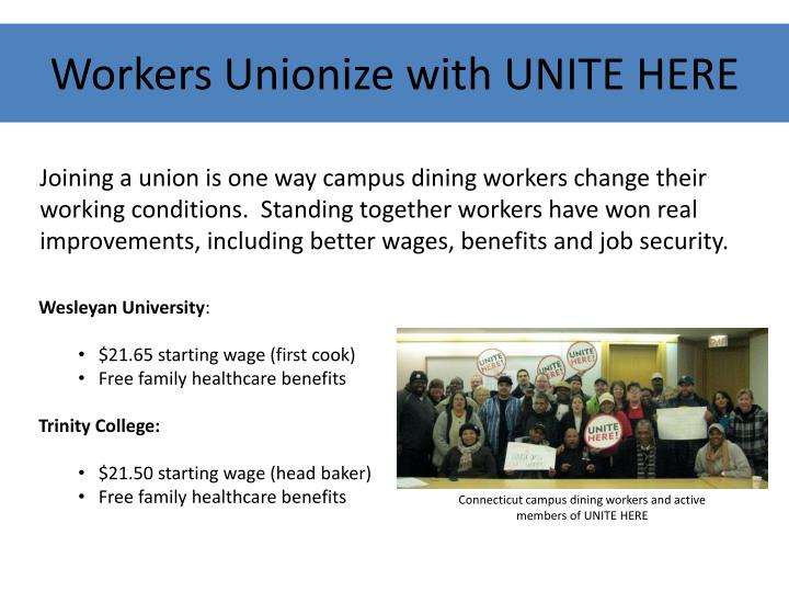 Workers Unionize with UNITE HERE