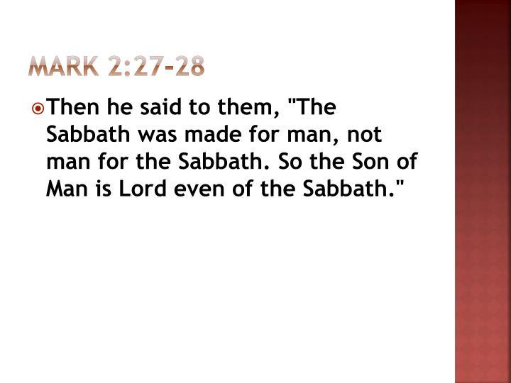 Mark 2:27-28