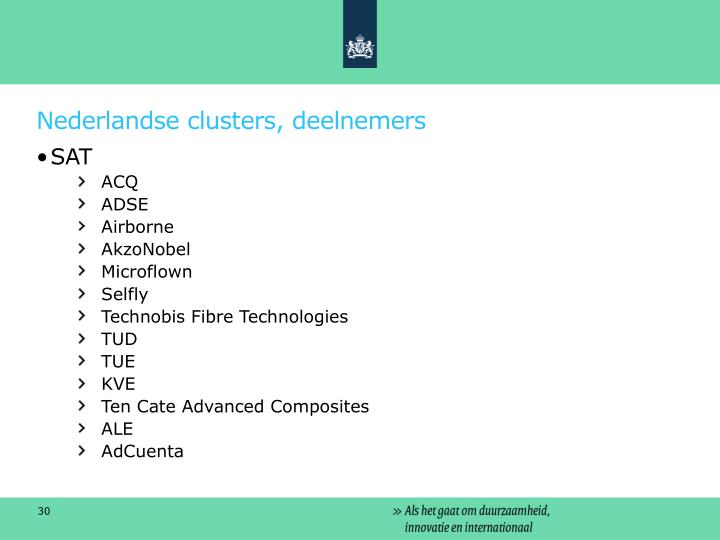 Nederlandse clusters, deelnemers
