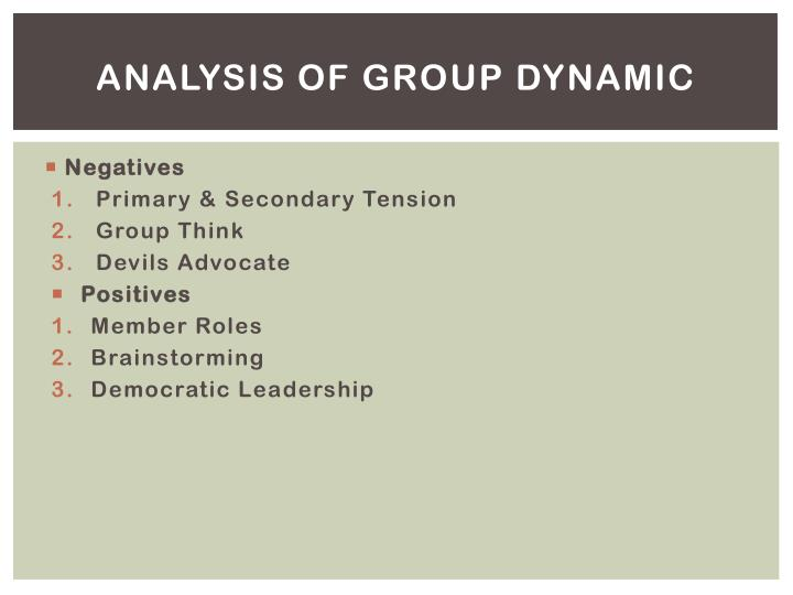 Analysis of Group Dynamic
