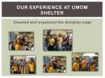 our experience at umom shelter1