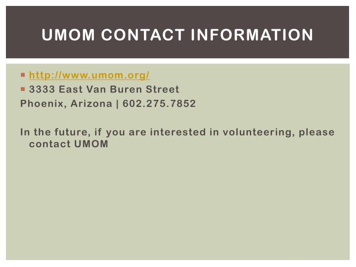 UMOM Contact Information