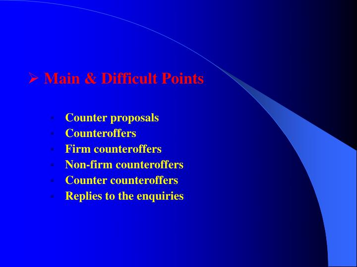 Main & Difficult Points