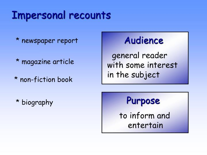 Impersonal recounts