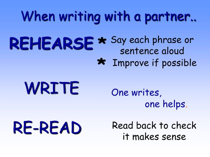 When writing with a partner..