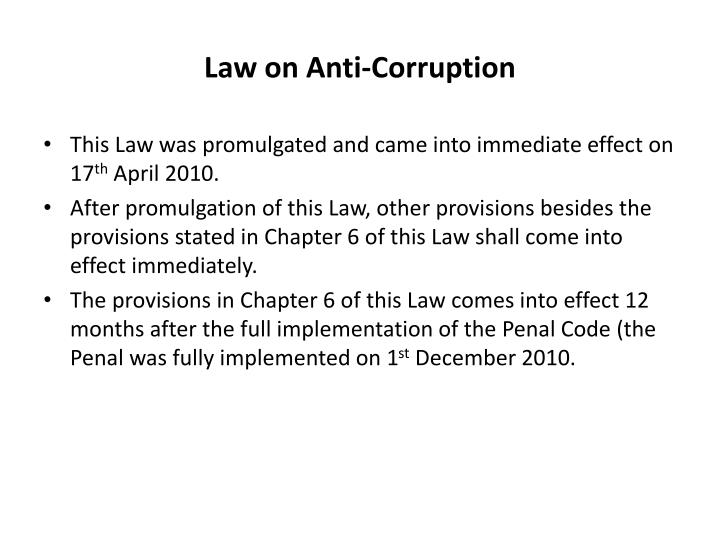 Law on Anti-Corruption
