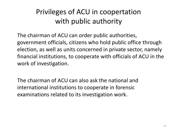 Privileges of ACU in coopertation