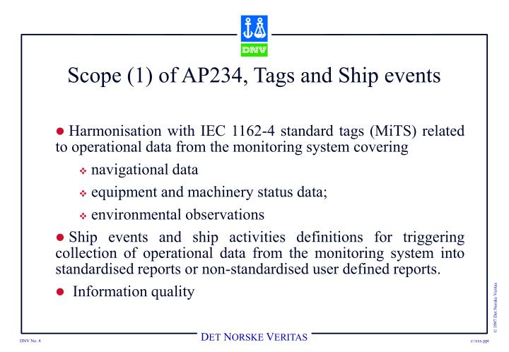 Scope (1) of AP234, Tags and Ship events