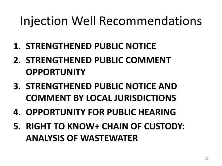 Injection Well Recommendations