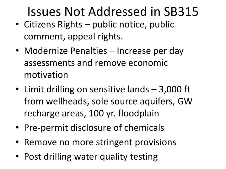 Issues Not Addressed in SB315