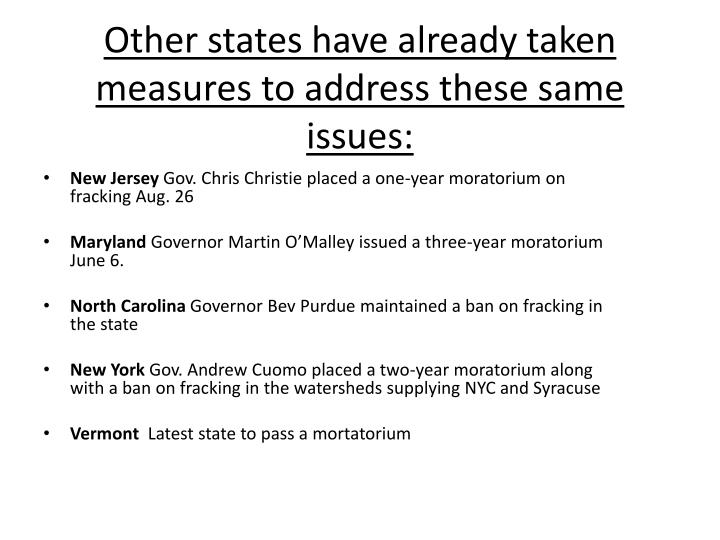 Other states have already taken measures to address these same issues: