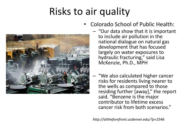 Risks to air quality