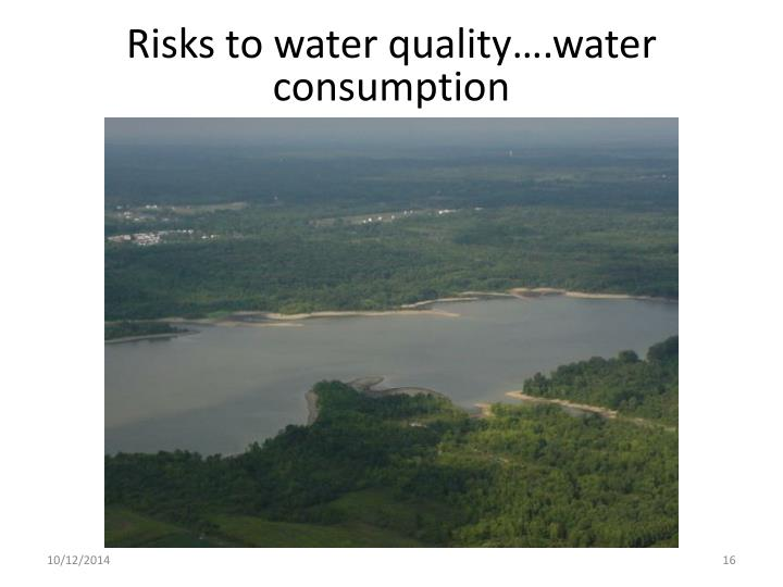 Risks to water quality….water consumption