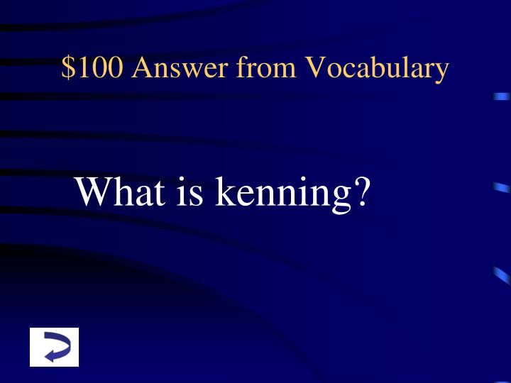 100 answer from vocabulary