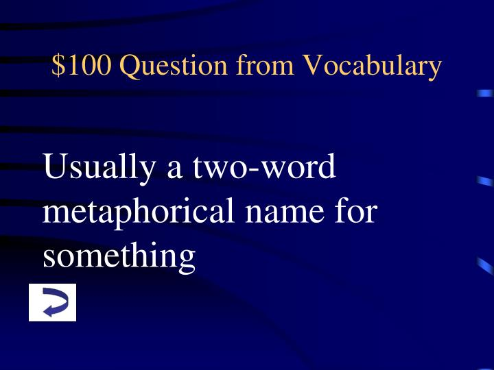 100 question from vocabulary