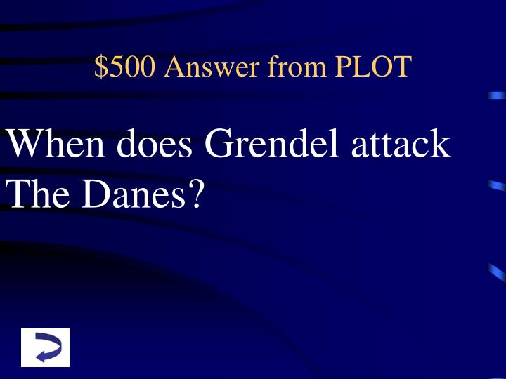 $500 Answer from PLOT