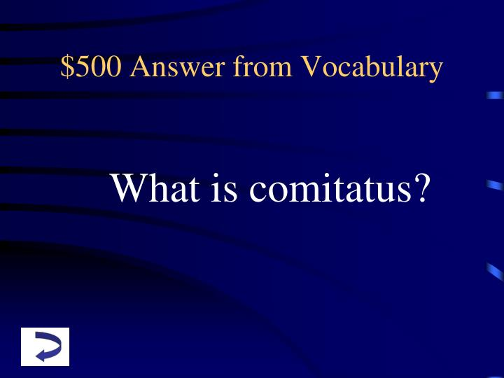$500 Answer from Vocabulary