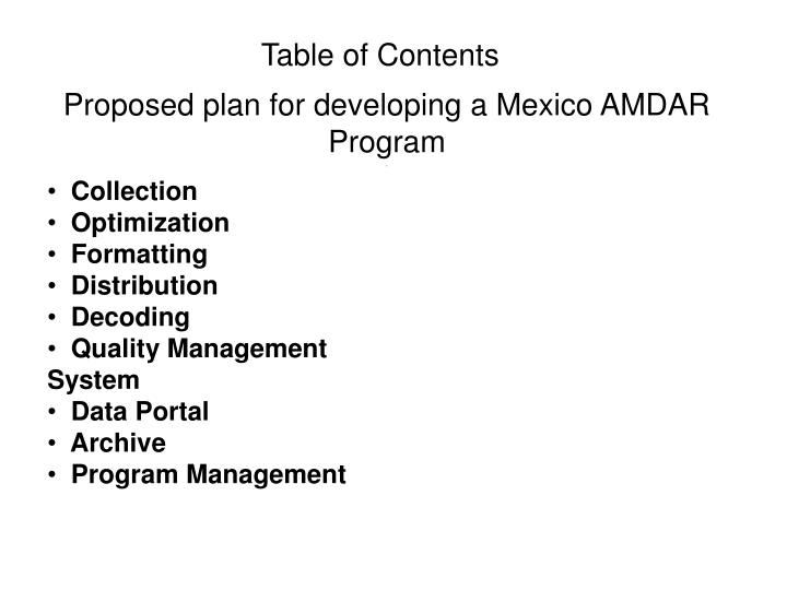 Proposed plan for developing a mexico amdar program1
