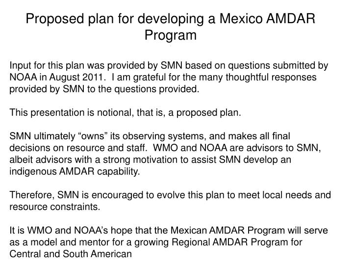 Proposed plan for developing a mexico amdar program2