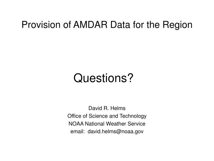 Provision of AMDAR Data for the Region