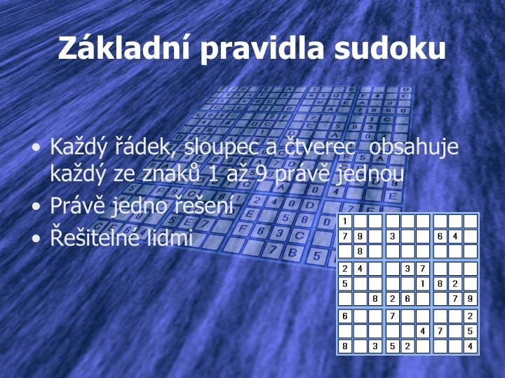 Základní pravidla sudoku
