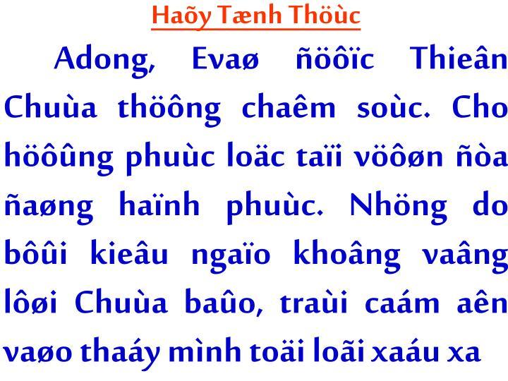 Haõy Tænh Thöùc