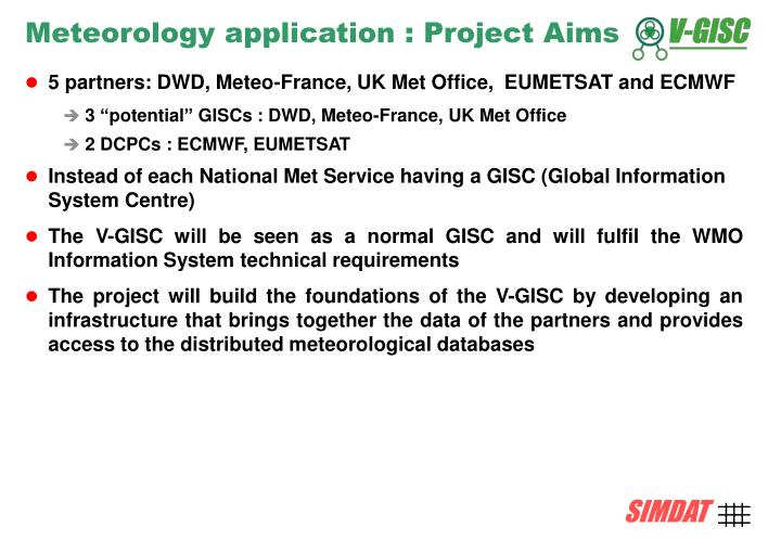 Meteorology application : Project Aims