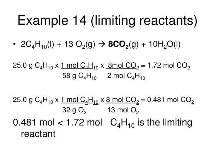Example 14 (limiting reactants)