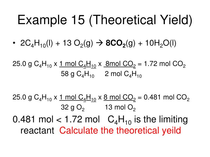 Example 15 (Theoretical Yield)