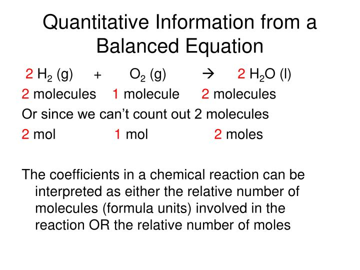 Quantitative Information from a Balanced Equation