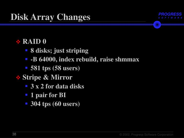 Disk Array Changes