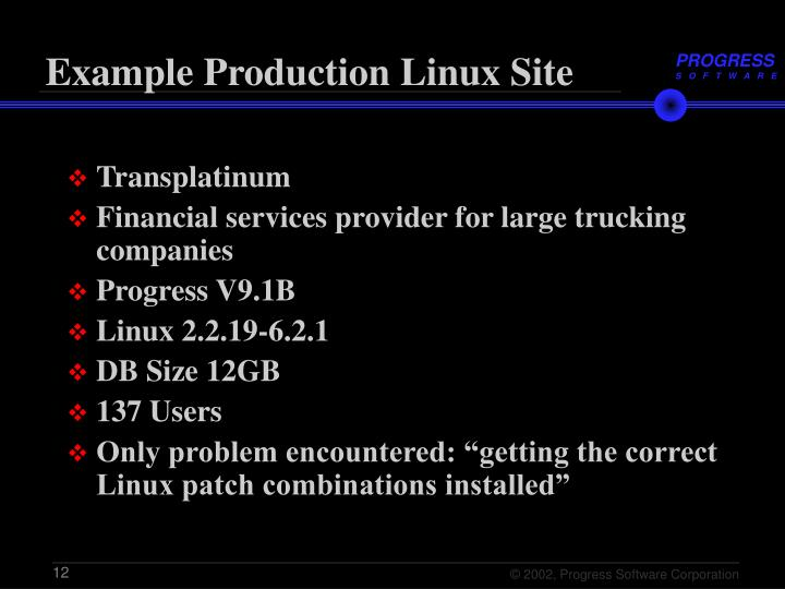 Example Production Linux Site
