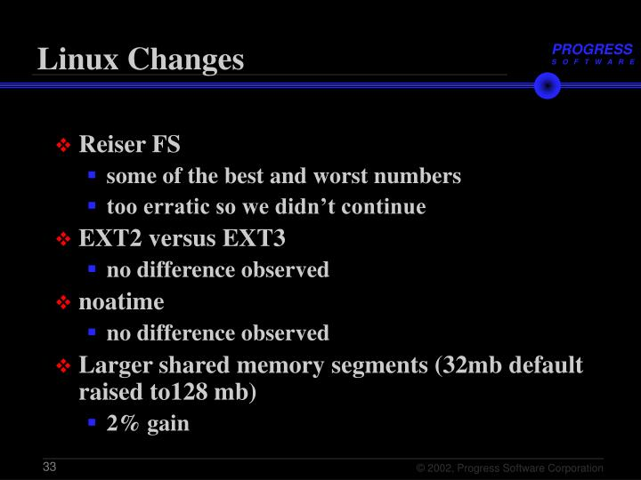Linux Changes