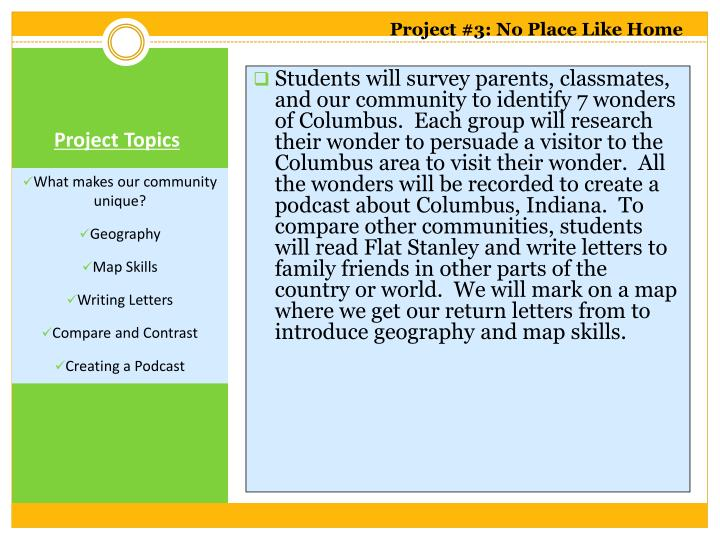 Project #3: No Place Like Home