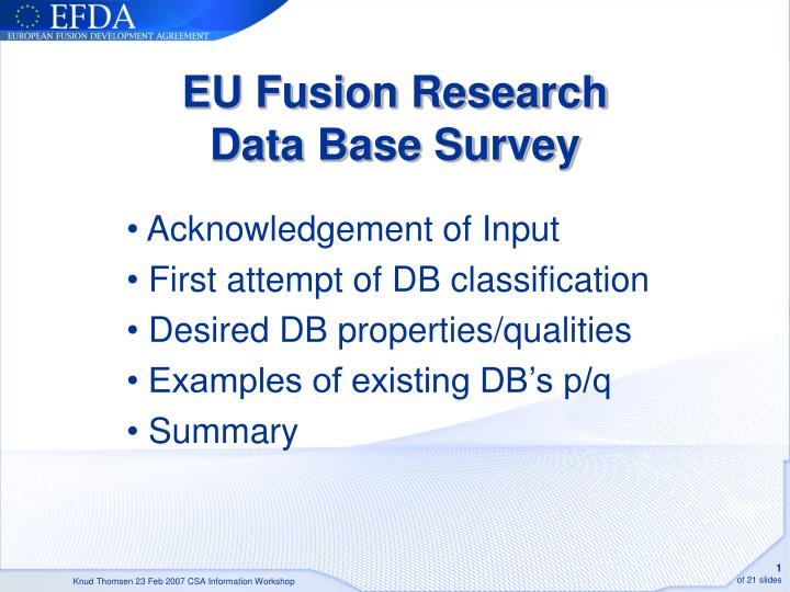 Eu fusion research data base survey