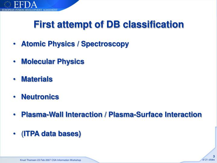 First attempt of DB classification