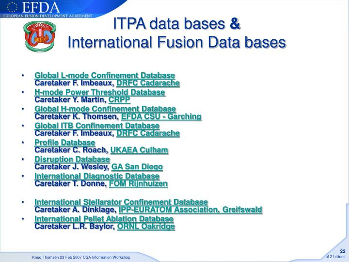 ITPA data bases