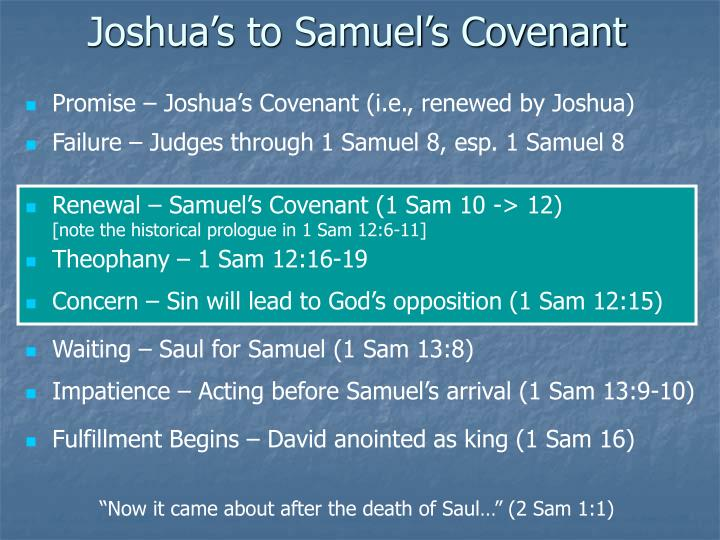 Joshua's to Samuel's Covenant