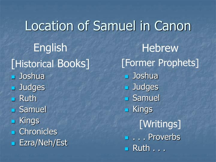 Location of Samuel in Canon