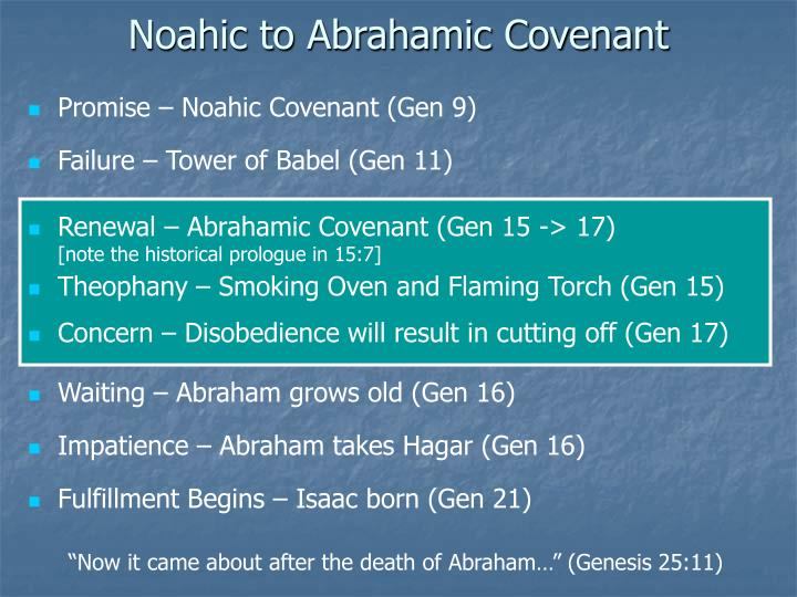 Noahic to Abrahamic Covenant