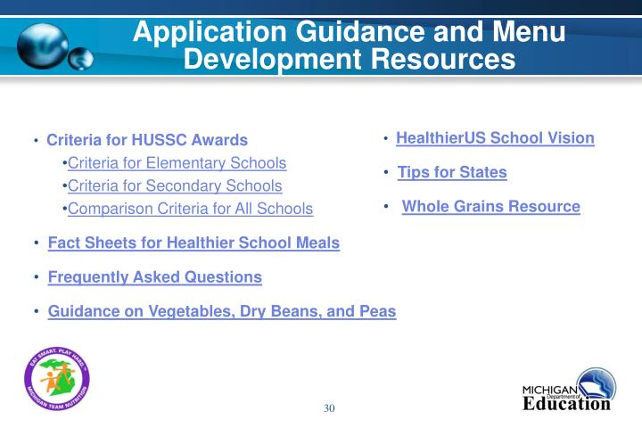 Application Guidance and Menu Development Resources